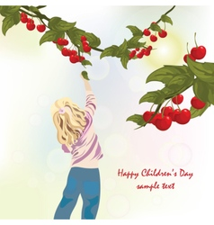 Little child eating cherries vector