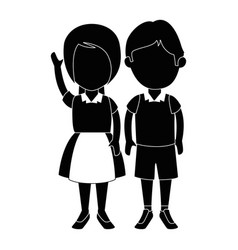 Little students with uniform characters vector