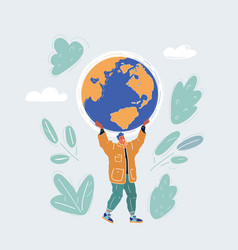 man who holding globe in vector image