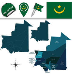 map of mauritania with named regions vector image