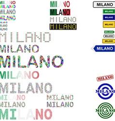 Milano text design set vector image