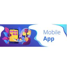 mobile app development header or footer banner vector image