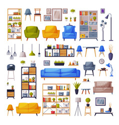 moden comfy furniture and home decor collection vector image