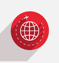 modern tourism red circle icon vector image