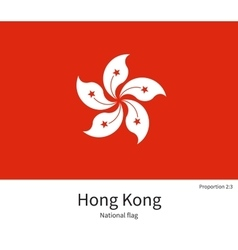National flag of Hong Kong with correct vector