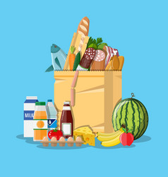Paper shopping bag full of groceries products vector