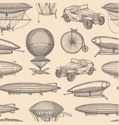 pattern with steampunk hand drawn airships vector image