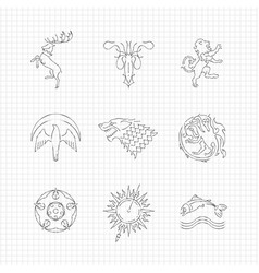 pencil drawing line heraldic animals vector image