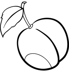 Plum fruit for coloring book vector