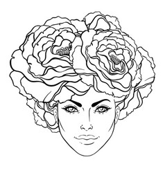 Pretty young girl with peonies in her hair hand vector