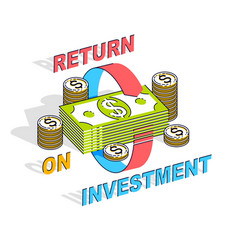 Return on investment concept cash money stack vector