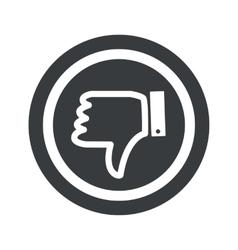 Round black dislike sign vector