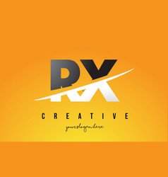 Rx r x letter modern logo design with yellow vector