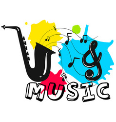 saxophone with word music in background vector image