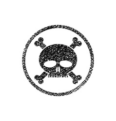 Scull with crossbones icon with hand drawn lines vector