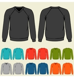 Set of colored sweatshirts templates for men vector