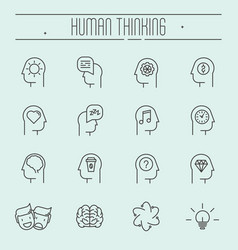 set of head thinking icons in modern thin line vector image
