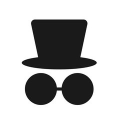 silhouette a man in a hat and glasses vector image