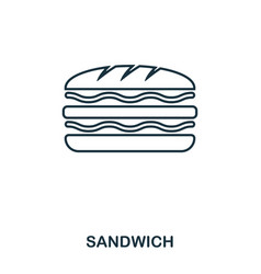 simple outline sandwich icon pixel perfect linear vector image