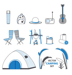 Sketch camping elements set vector