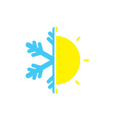 Snow and sun weather logo vector