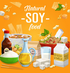 soy products soybean organic food poster vector image