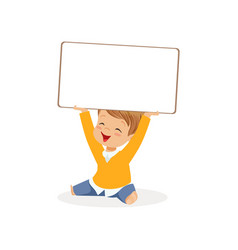 sweet boy character holding white empty message vector image