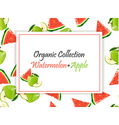 Sweet juicy slice of watermelon and green apple vector