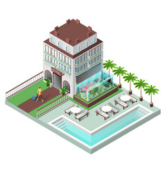 Tourist hotel and sun loungers by pool vector