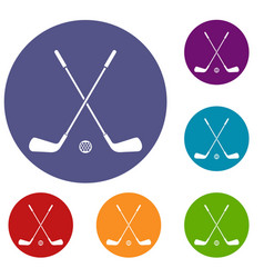 two crossed golf clubs and ball icons set vector image
