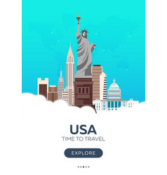 usa time to travel set of travel posters vector image