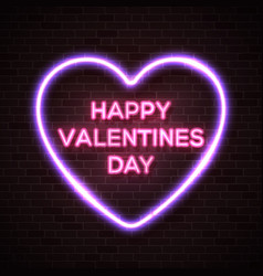 valentines day neon lettering text in heart frame vector image