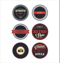 Vintage labels blue and red set 3 vector