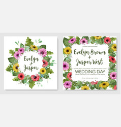 watercolor set postcards template wedding vector image