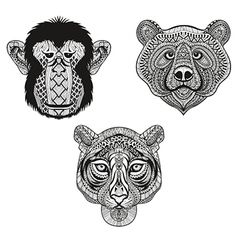 Zentangle stylized Tiger Monkey Bear faces Hand vector image