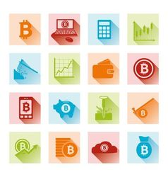 bitcoin flat icons vector image