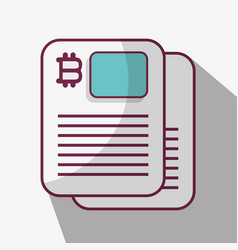 line icon document bitcoin money currency vector image vector image