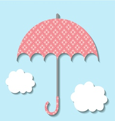 Paper umbrella with clouds vector image