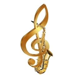 saxophone in a gold treble clef vector image vector image