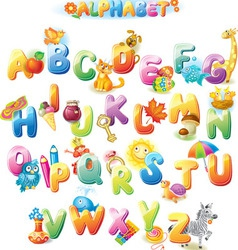 Alphabet for kids with pictures vector image vector image