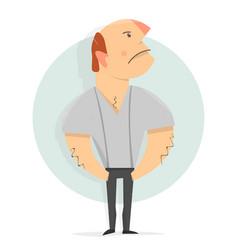 cartoon character funny serious man vector image