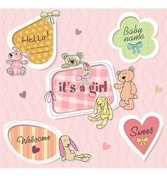 Childrens borders for girl vector image