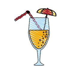 Color crayon stripe cartoon glass cup of cocktail vector