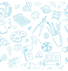 Creative seamless school pattern with blue pen vector image vector image