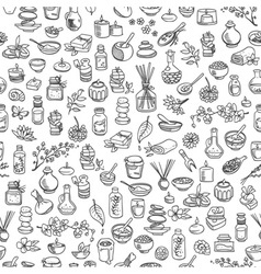 doodle spa elements seamless background vector image