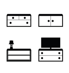 furniture set in black and white color vector image