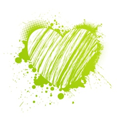 green grunge heart vector image vector image
