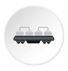 Rail wagon for cement icon circle vector
