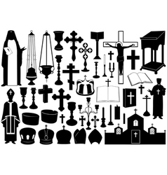 Set of religious elements vector image vector image