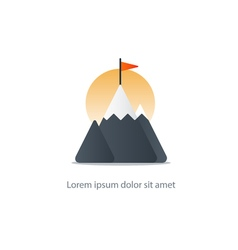 Top achievement mountain peak icon big challenge vector image
